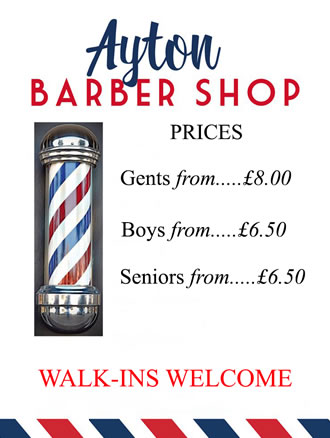 Ayton Barber Shop Great Ayton - Price List