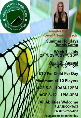 great ayton tennis club summer camp with jen barron