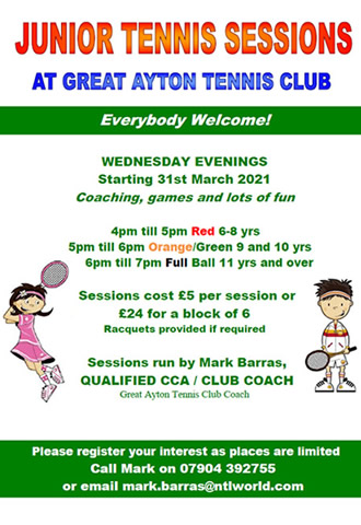 great ayton tennis club junior coaching
