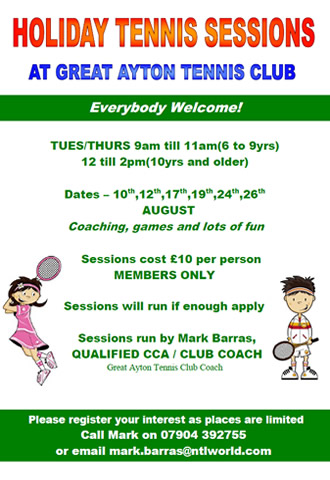 great ayton tennis club summer sessions with mark barras