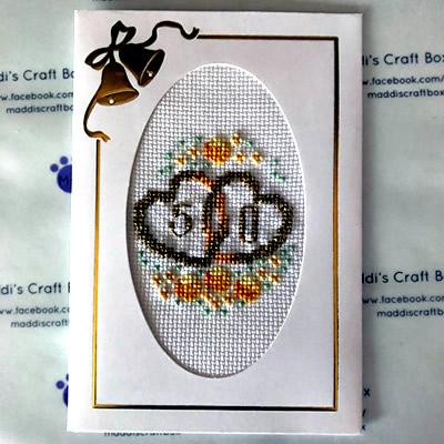 50th Wedding Anniversary Cross Stitch Greeting Card