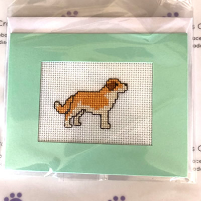 Dog Cross Stitch Greeting Card