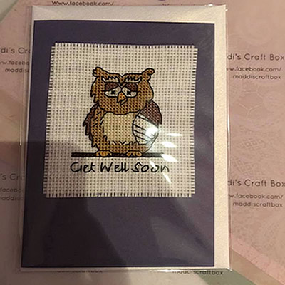 Get Well Soon Cross Stitch Greeting Card