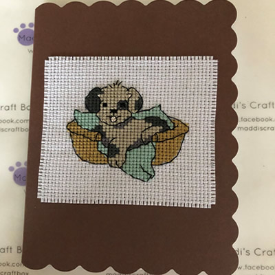 Puppy in Basket Cross Stitch Greeting Card