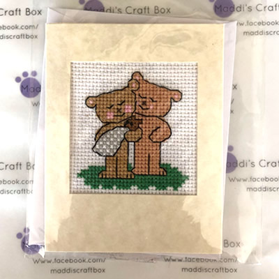 Two Bears Cross Stitch Greeting Card