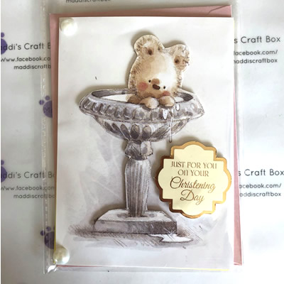 Christening Card with Bear in Font