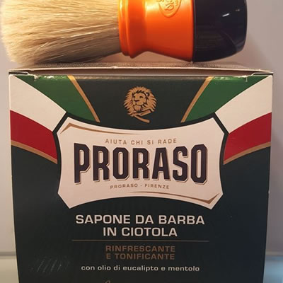 Proraso Soft Shaving Soap Bowl (Eucalyptus & Menthol) and Omega Shaving Brush