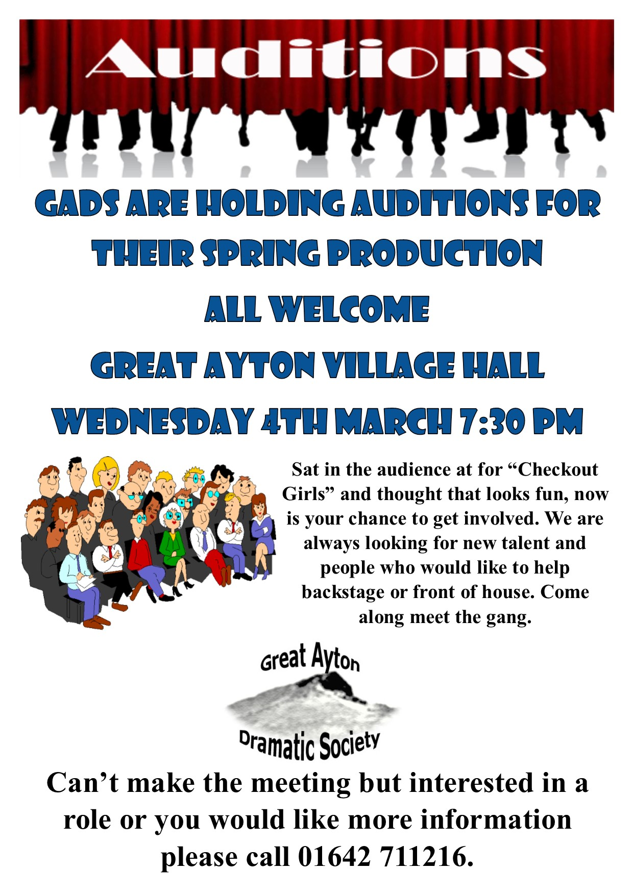 Great Ayton Dramatic Society auditions poster