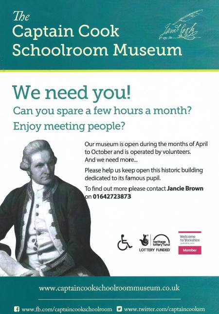 Captain Cook Schoolroom Museum Volunteers Wanted poster