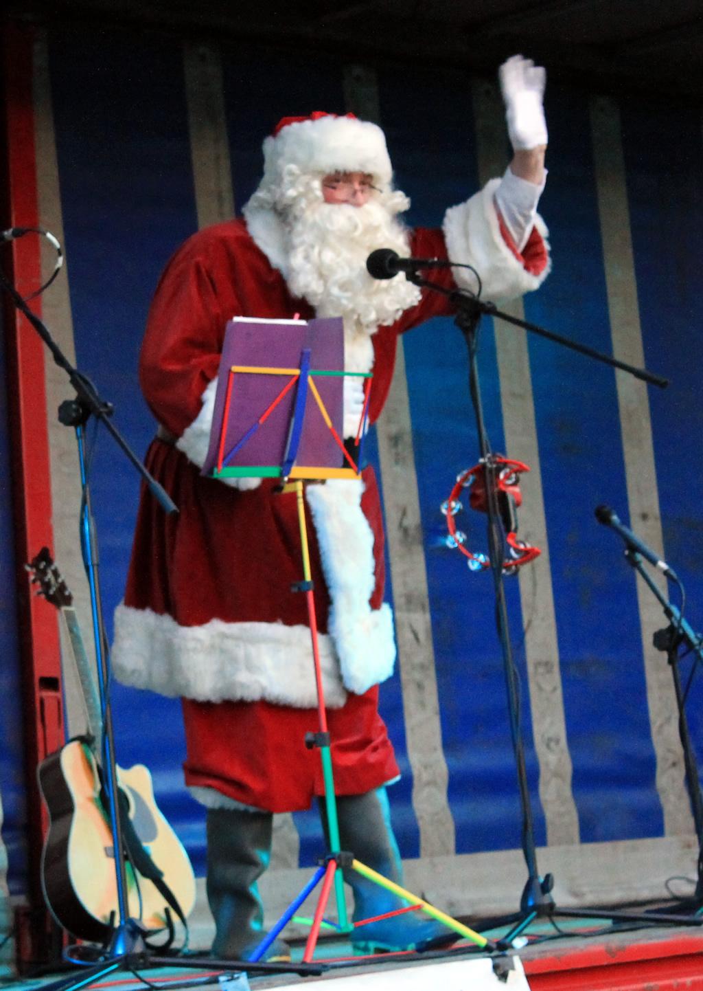 Santa visiting Great Ayton Christmas Fayre 2017