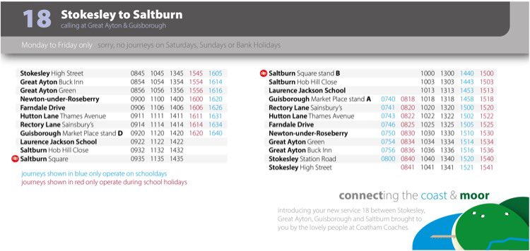 Coatham number 18 bus service timetable