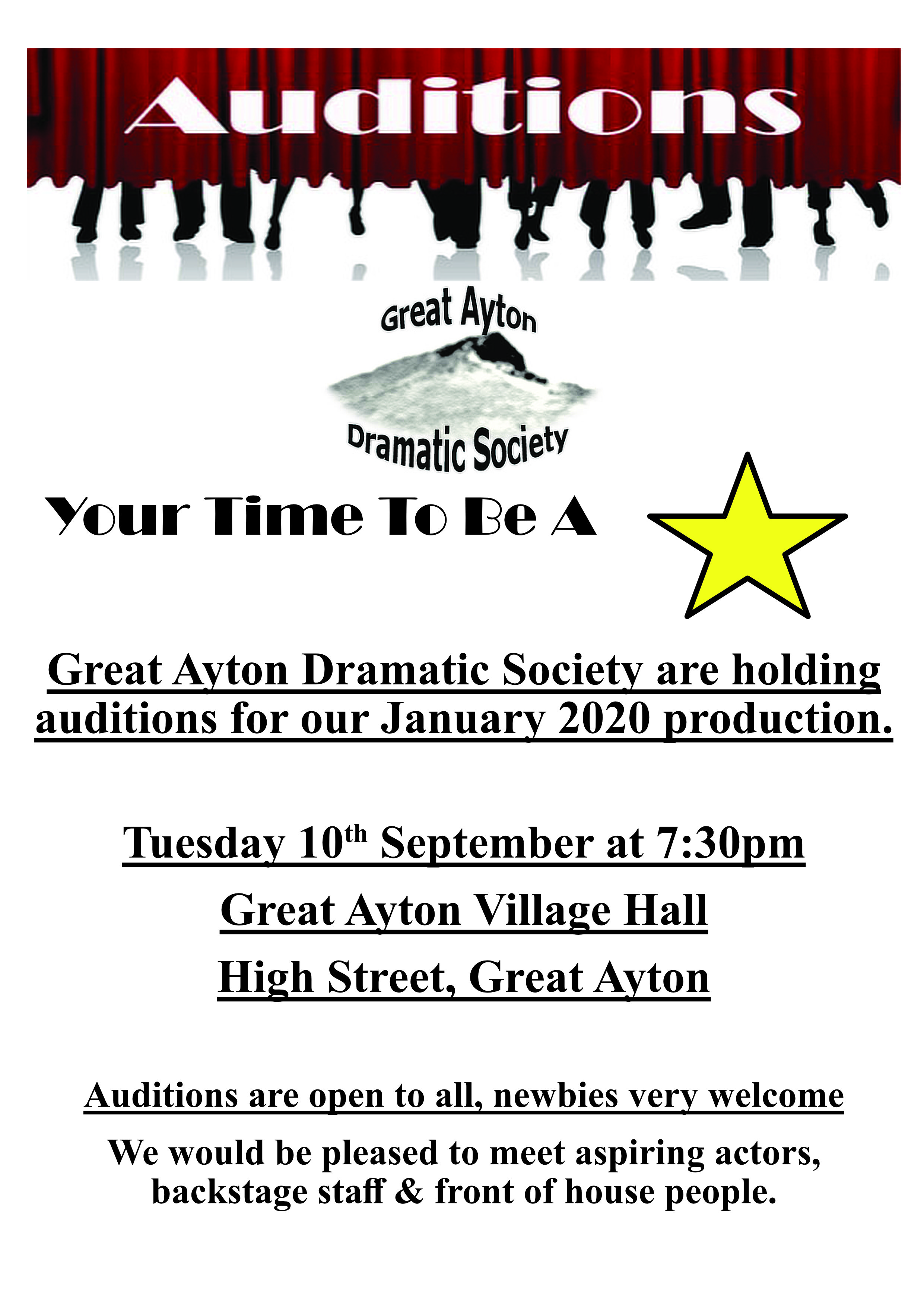 Winter auditions 2020 poster