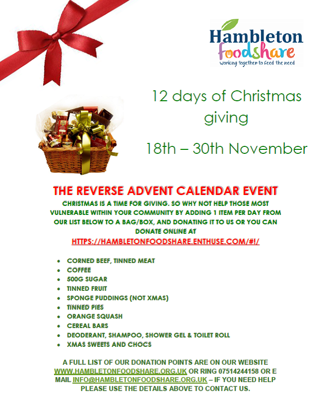 Hambleton FoodShare 12 Days of Christmas